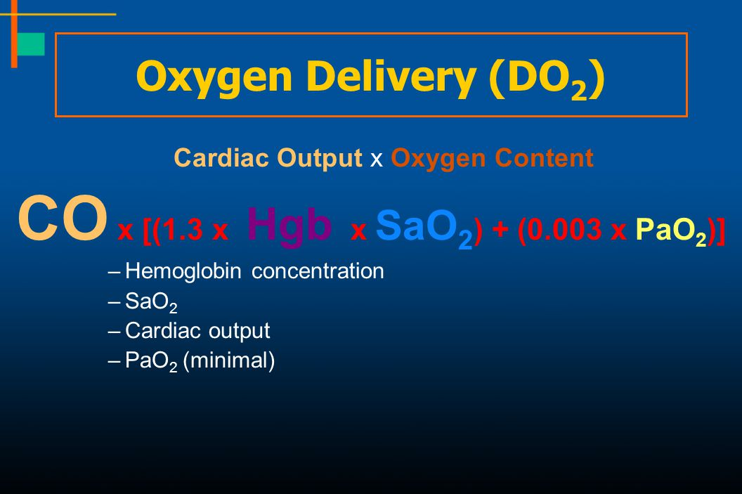 CO x [(1.3 x Hgb x SaO2) + (0.003 x PaO2)]